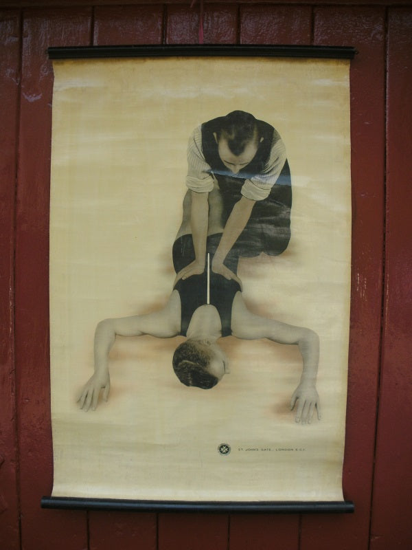 Vintage St John's ambulance medical poster Respiration.