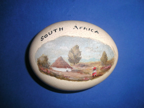Vintage painted South Africa Ostrich egg