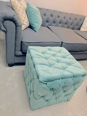 Upholstered cube footstool