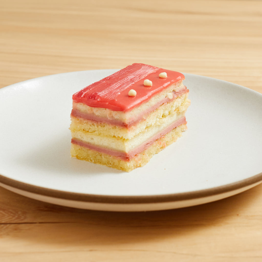 Strawberry Rhubarb Mousse Cake