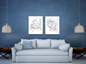 Maryland State Blue Crab. Blue Crab Line Art Print 2