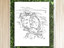 Load image into Gallery viewer, Maryland State Blue Crab. Blue Crab Line Art Print 2