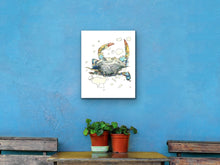 Load image into Gallery viewer, Maryland State Blue Crab. Maryland State Symbol Crab Watercolor Art Print 1