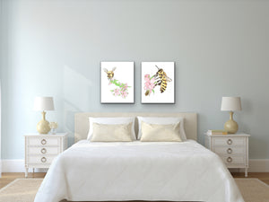 State Symbol Art. Honeybee Watercolor Art Print. State Symbol Art