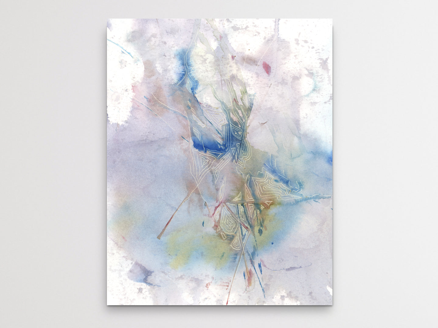 Abstract Watercolor and Etch Art Print