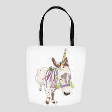 Load image into Gallery viewer, Donkey Unicorn Tote Bag. Unicorn Bag. Donkey Art Sack. Unicorn Art Gift. Cute Bag. Cute Unicorn Tote.