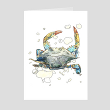 Load image into Gallery viewer, Blue Crab Greeting Card. Crab Card. Animal Art Card. Blank Greeting Card. Note Card. Stationary Card. Beach Card. Art Card. Paper Card.
