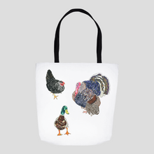 Load image into Gallery viewer, Turducken Tote. Bird Tote. Art Bag. Cute Tote. Colorful Turducken. Art Gift. Turkey Duck Chicken. Thanksgiving Tote