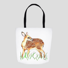 Load image into Gallery viewer, Deer Tote. White Tailed Deer Tote. Art Bag. Cute Tote. Fawn Tote. Art Gift. Deer Art