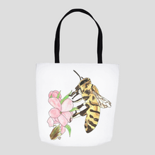 Load image into Gallery viewer, Honeybee Tote Bag 1. Bee Tote Bag. Honeybee Tote Sack. Beautiful Tote Bag. Floral Tote. Art Tote