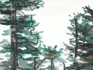 Watercolor and Ink Trees Art Print