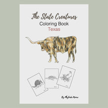 Load and play video in Gallery viewer, Texas State Creatures Coloring Book. Print and Color