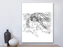 Load image into Gallery viewer, California State Turtle. Pacific Leatherback Sea Turtle Art Print. California State Symbol Sea Turtle Art