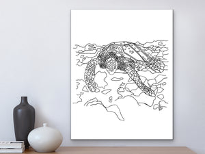California State Turtle. Pacific Leatherback Sea Turtle Art Print. California State Symbol Sea Turtle Art