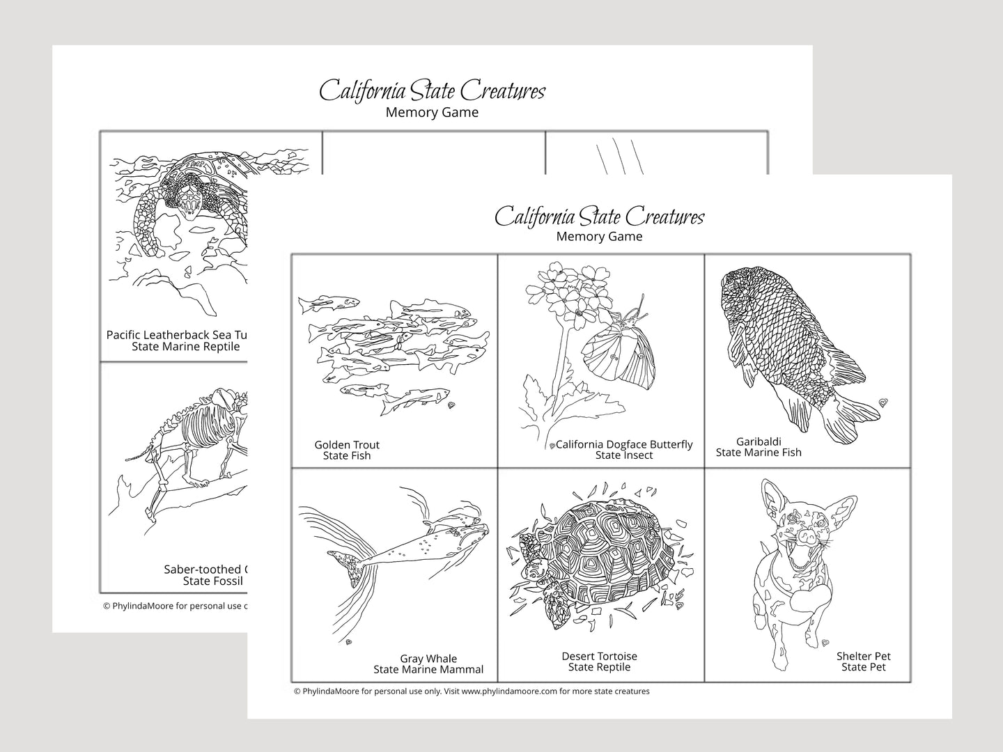 California State Creatures Memory Game. Print and Play