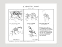 Load image into Gallery viewer, California State Creatures Memory Game. Print and Play