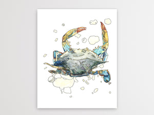 Maryland State Blue Crab. Maryland State Symbol Crab Watercolor Art Print 1
