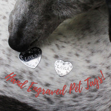 Load image into Gallery viewer, Floral Border Stainless Steel Hand Engraved Pet Tags!