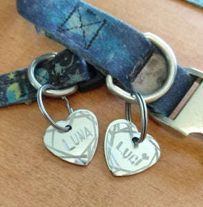 Line Border Stainless Steel Hand Engraved Pet Tags!