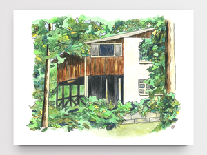 Lake Cabin Art Print