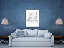 Load image into Gallery viewer, Maryland State Blue Crab. Maryland State Symbol Crab Line Art Print 1