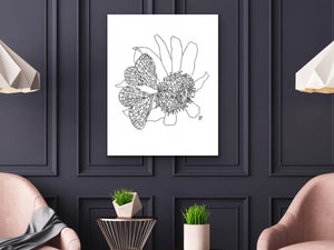 Maryland State Butterfly Print. Baltimore Checkerspot Butterfly Art
