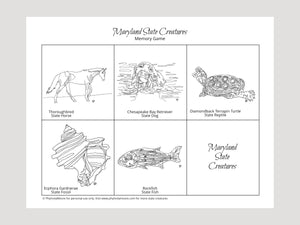 Maryland State Creatures Memory Game. Print and Play
