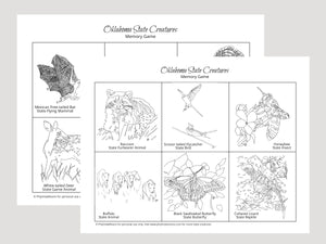 Oklahoma State Creatures Memory Game. Print and Play