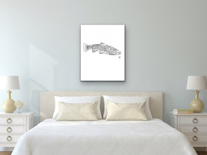 State Fish Art. Brook Trout Watercolor Art Print.