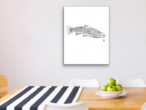 State Fish. Brook Trout Line Art Print
