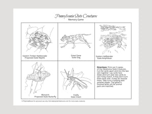 Pennsylvania State Creatures Memory Game. Print and Play