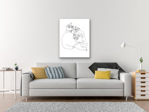 Pennsylvania State Shelter Cat. Cat and Kittens Line Art Print