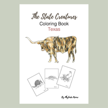 Load image into Gallery viewer, Texas State Creatures Coloring Book. Print and Color