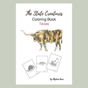 Texas State Creatures Coloring Book. Print and Color