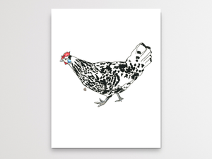 White Chicken With Black Spots Watercolor Print
