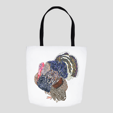 Load image into Gallery viewer, Turkey Tote. Bird Tote. Art Bag. Cute Tote. Colorful Turkey. Art Gift. Turkey. Thanksgiving Tote