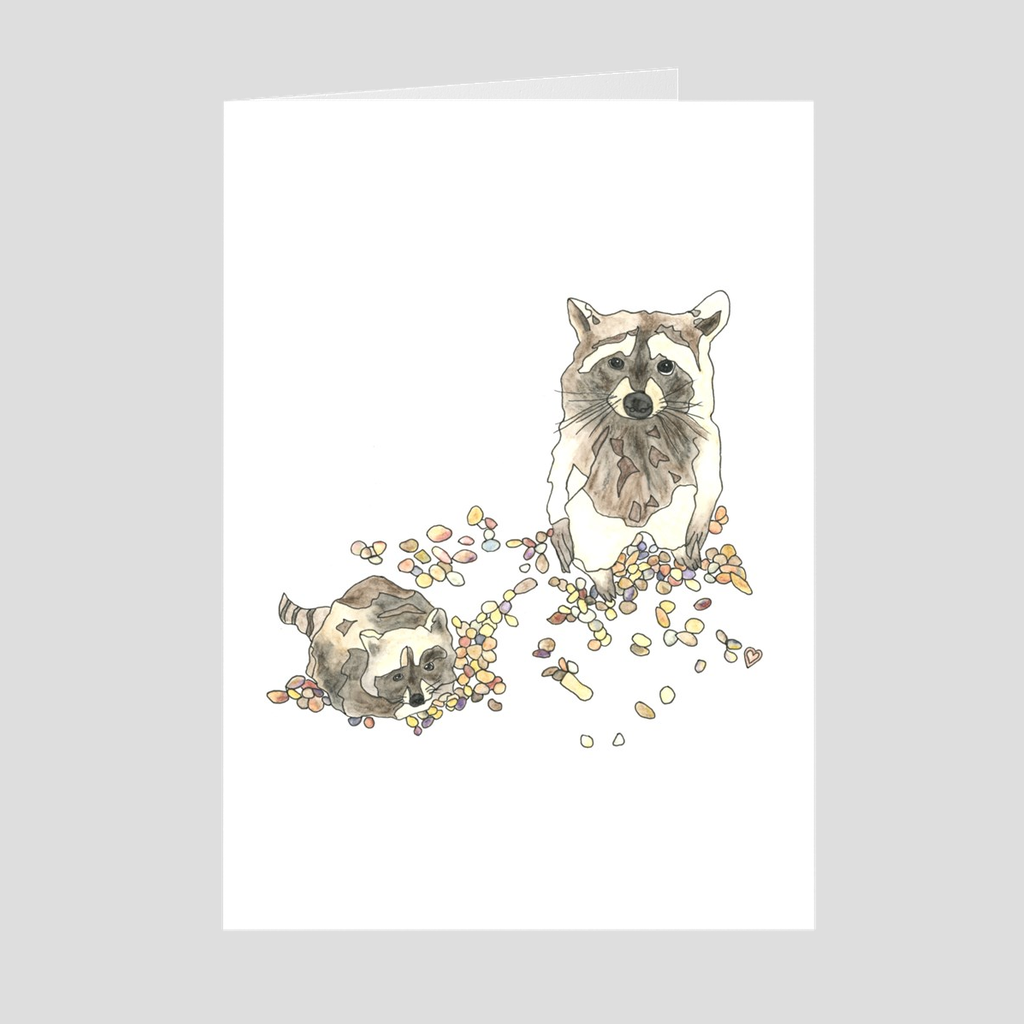 Raccoon Greeting Card. Animal Card. Raccoon Card. Animal Art. Cute Card. Cute Animal Card.