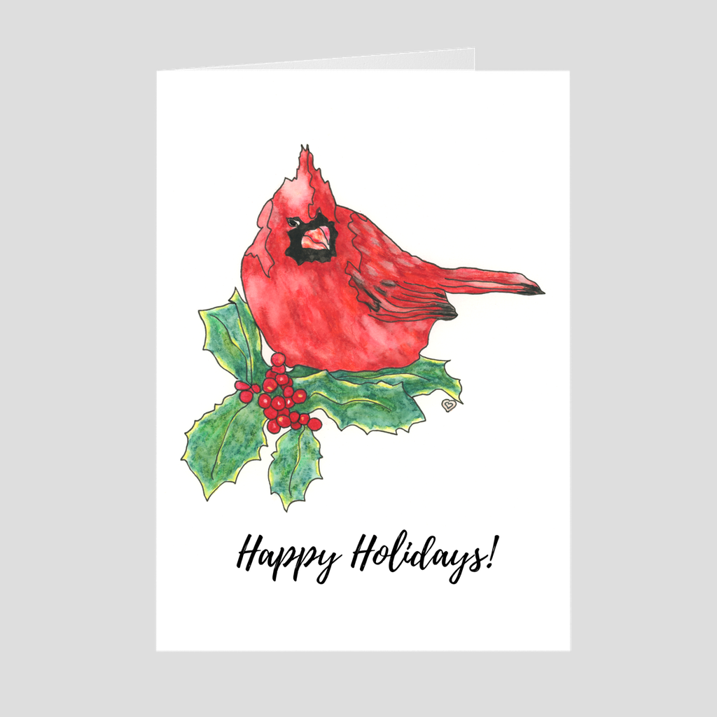 Cardinal Holiday Greeting Card. Red Bird Greeting Card. Bird Art. Colorful Bird. Blank Card. Bird Card. Happy Holidays Card