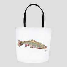 Load image into Gallery viewer, Brook Trout Tote. Fish Tote Bag. Fish Tote Sack. Beautiful Tote Bag. Fish Art Bag. Cute Tote. Art Gift.