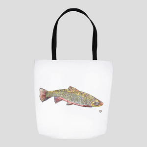 Brook Trout Tote. Fish Tote Bag. Fish Tote Sack. Beautiful Tote Bag. Fish Art Bag. Cute Tote. Art Gift.