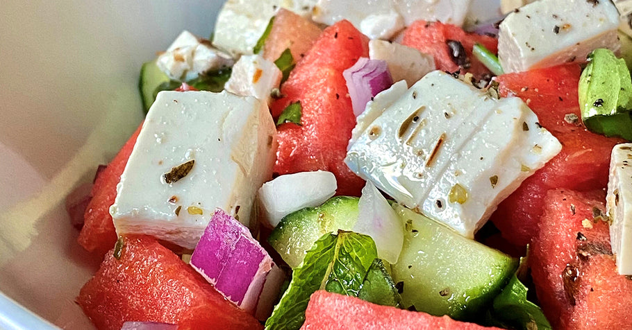 Serve a Bowl of Summer with this Watermelon and Vegan Feta Salad