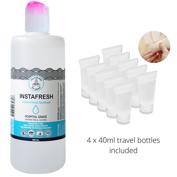 Family Pack Hand sanitiser 500ml & 4x 40ml travel bottles