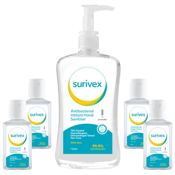 Surivex Instant Hand Sanitiser Kills 99.99% of Germs fast with 70% Alcohol - Family pack