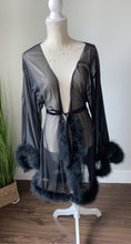 Load image into Gallery viewer, Black Fur Mesh Robe