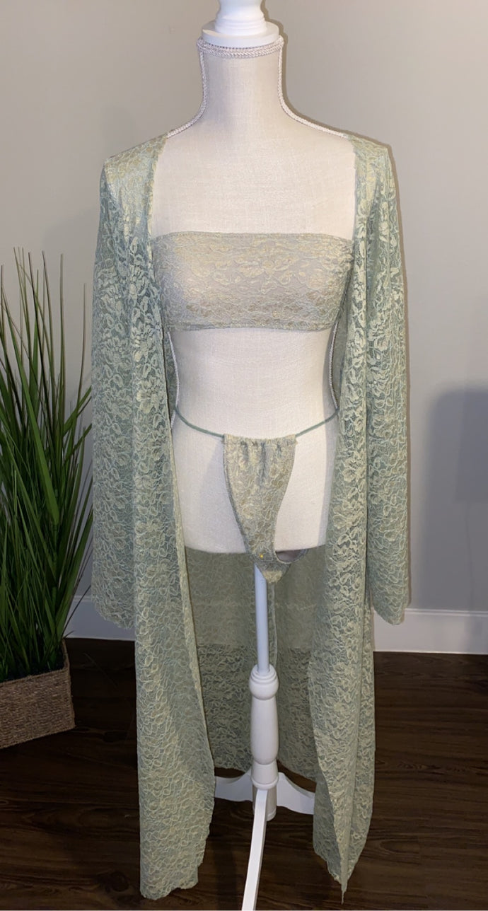Mint Lace Robe and Lace Bikini Set
