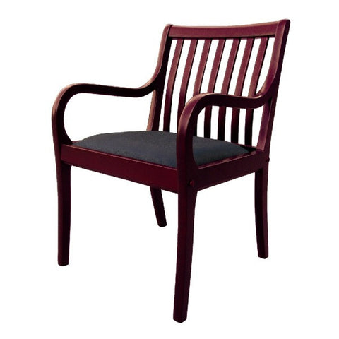Reception Area Chair - Cherry with Fabric Seat & Slat Back