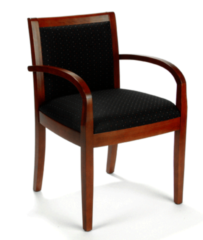 Reception Area Chair - Cherry with Fabric Seat/Back