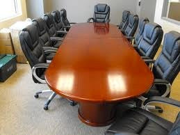 Conference Table - Large Racetrack Top - Cherry Finish