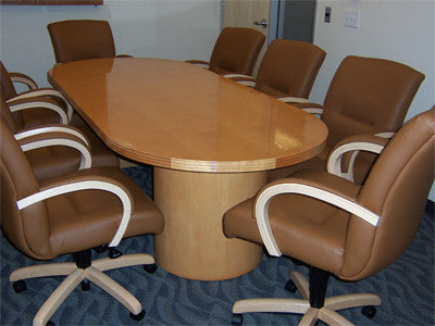 Conference Table - Small Racetrack Shape Top - Maple Finish