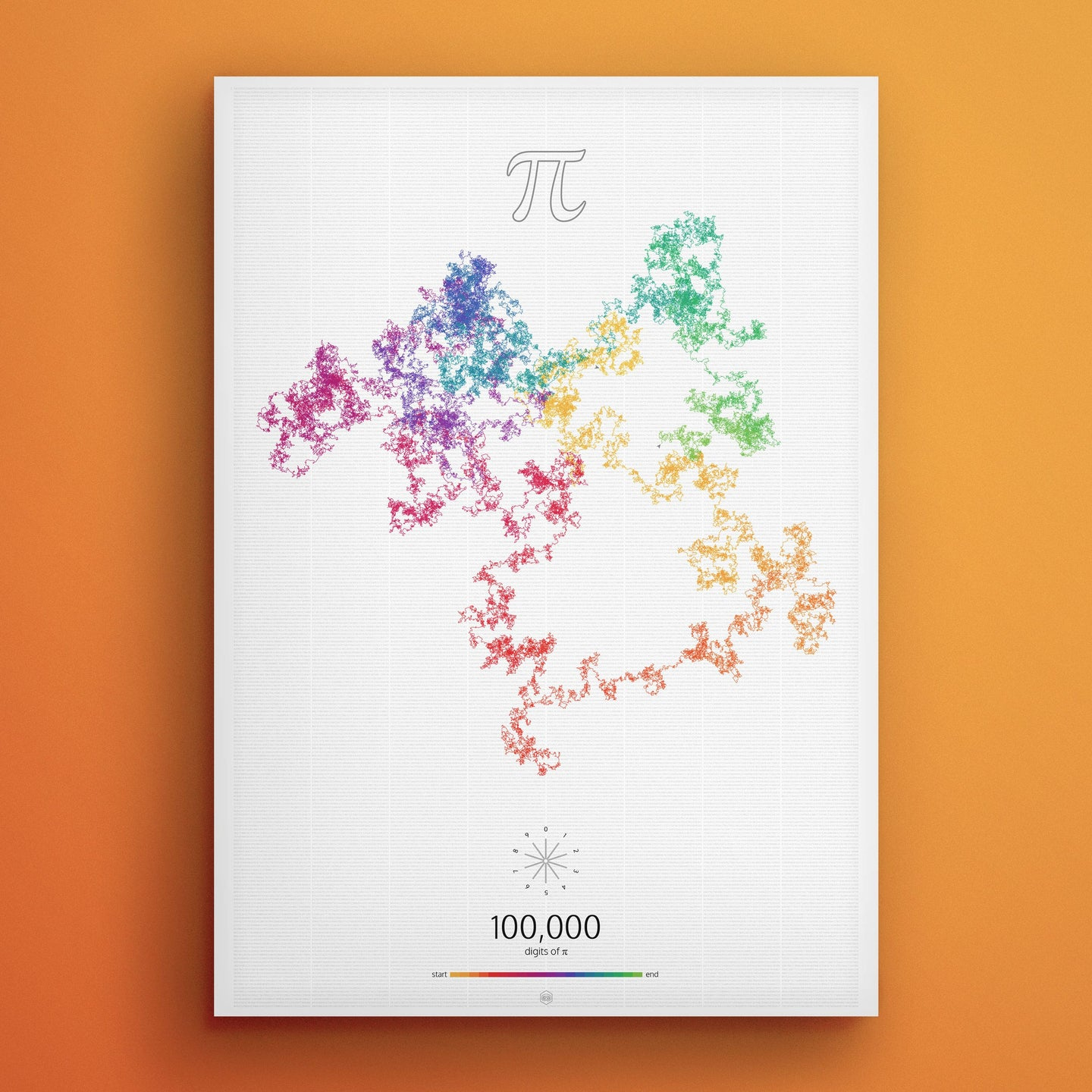 Custom Order - The Art in Pi — 100 000 digits — Digit background | A3